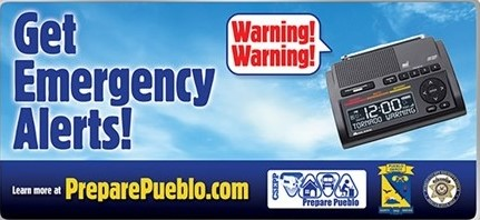 Billboard showing weather radios for receiving emergency alerts